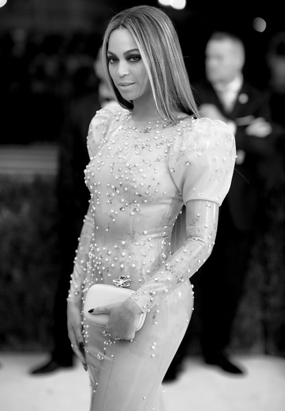"""Image has been converted to black and white.) Beyonce attends """"Manus x Machina: Fashion In An Age Of Technology"""" Costume Institute Gala at Metropolitan Museum of Art on May 2, 2016 in New York City."""