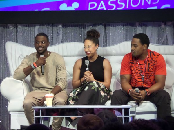(l-r) Actor Lance Gross, TV Host Tamera Mowry-Housley, and Actor Lamman Rucker