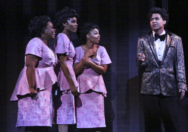 """Moya Angela, Jasmin Richardson, Brittney Johnson and David LaMarr star in the LA MIRADA THEATRE FOR THE PERFORMING ARTS & McCOY RIGBY ENTERTAINMENT production of """"DREAMGIRLS"""" - Directed and Choreographed by Robert Longbottom. PHOTO CREDIT: Michael Lamont"""