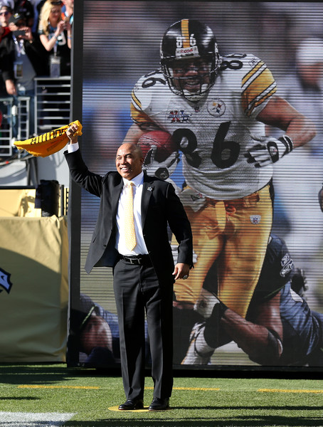 Super Bowl XL MVP Hines Ward of the Pittsburgh Steelers looks on during Super Bowl 50 between the Denver Broncos and the Carolina Panthers at Levi's Stadium on February 7, 2016 in Santa Clara, California.