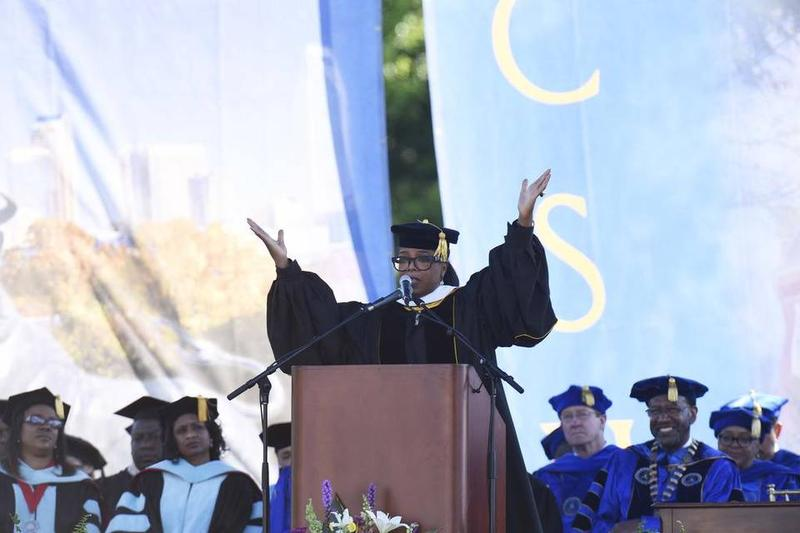 "Oprah Winfrey gives the graduation speach for about 300 Johnson C. Smith University students, including two she calls her ""daughter girls."""