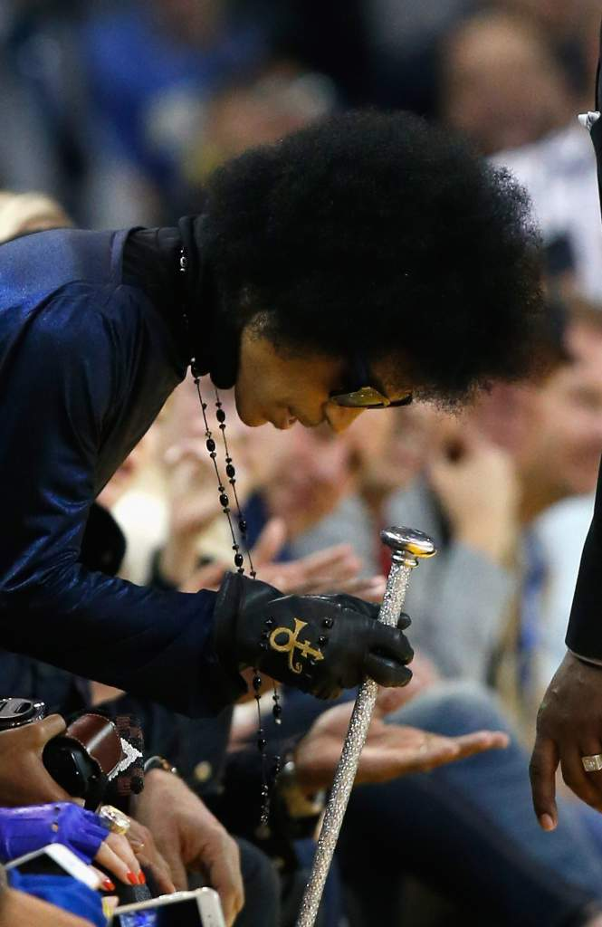 Prince takes his seat for the Golden State Warriors game against the Oklahoma City Thunder at ORACLE Arena on March 3, 2016 in Oakland, California.
