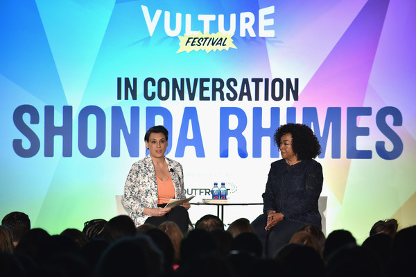 Hollywood editor for Vulture Magazine Stacey Wilson Hunt (L) and television producer Shonda Rhimes speak on stage at the 2016 Vulture Festival at Milk Studios on May 22, 2016 in New York City.