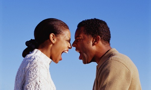 black couple yelling photo