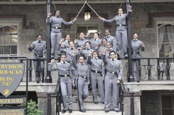 black west point female cadets raised fists