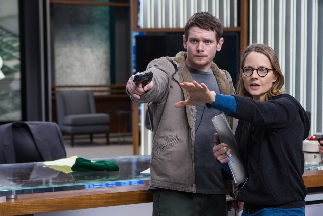 Jack O'Connell & Jodie Foster on the set of 'Money Monster'