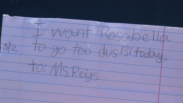 excuse note written by child