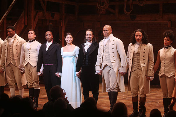 Opening night of the Broadway musical 'Hamilton' at the Richard Rodgers Theatre - Curtain Call  Featuring: Okieriete Onaodowan, Jon Rua, Leslie Odom Jr, Phillipa Soo, Lin-Manuel Miranda, Christopher Jackson, Anthony Ramos, Ariana DeBose Where: New York City, New York, United States When: 06 Aug 2015 Credit: Joseph Marzullo/WENN.com