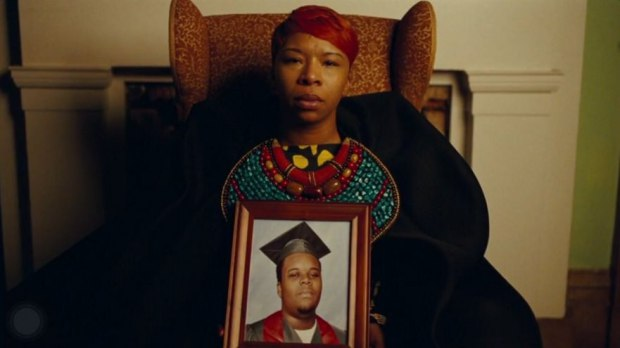 "Lesley McSpadden with a photo of her late son Michael Brown in Beyonce's mini-film ""Lemonade"""