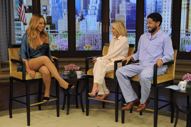 """Kelly Ripa and Jussie Smollett are pictured with Mariah Carey during the production of """"LIVE Kelly"""" in New York on Tuesday, May 17, 2016, to air on Monday May 30, 2016. Photo: Pawel Kaminski - Disney/ABC Home Entertainment and TV Distribution  ©2016 Disney ABC. All Rights Reserved."""