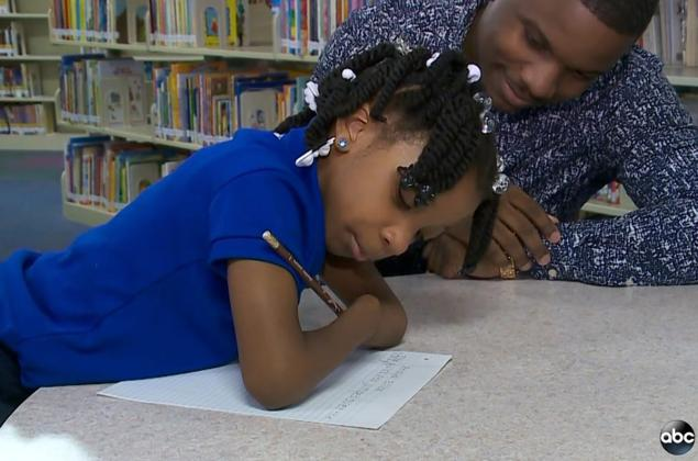 Virginia first grader Anaya Ellick, 7, won an award for handwriting.