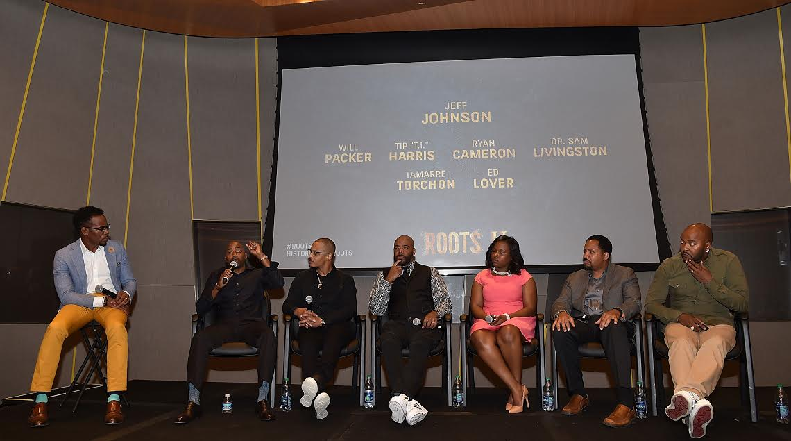 "Roots ""ATLANTA, GA - MAY 09: (L-R) Jeff Johnson, Will Packer, Tip ""T.I."" Harris, Ed Lover, Tamarre Torchon, Dr. Samuel Livingston, Ryan Cameron onstage at HISTORY's ""Roots"" Atlanta advanced screening at National Center for Civil and Human Rights on May 9, 2016 in Atlanta, Georgia. (Photo by Paras Griffin/Getty Images for History/Roots)"""