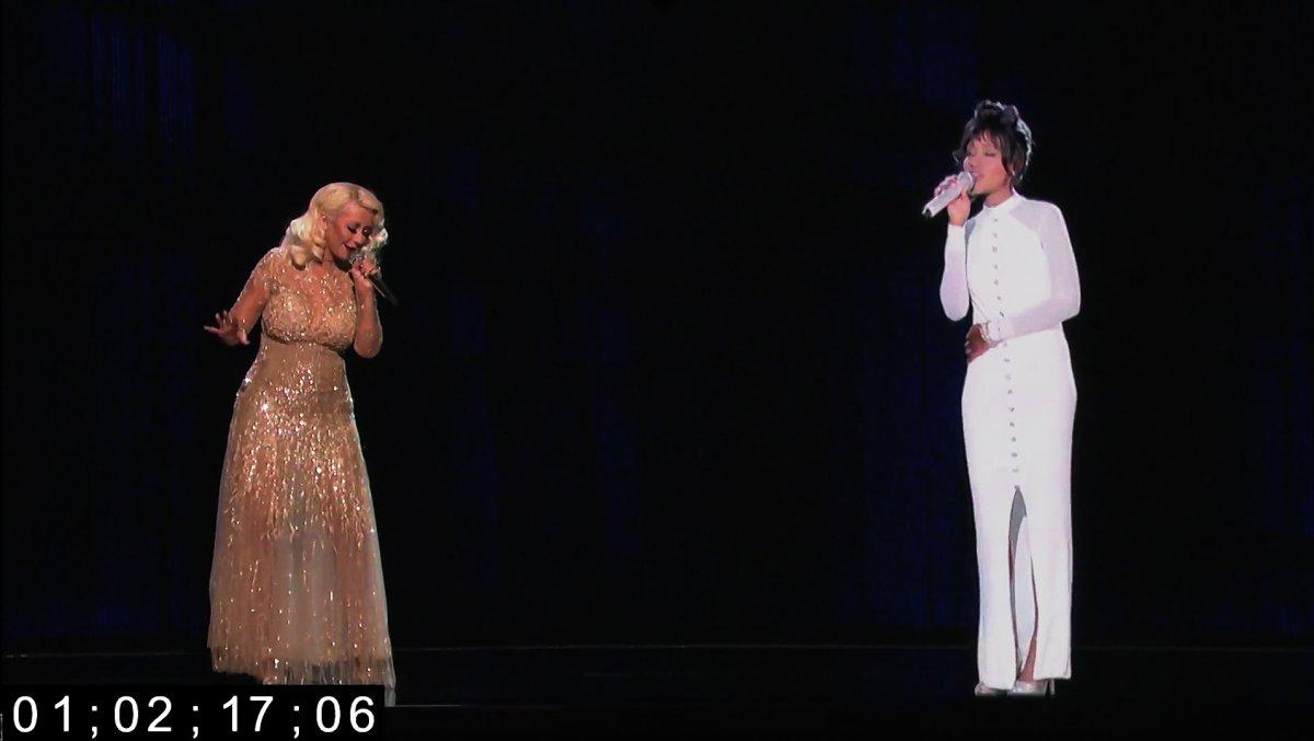 """Christina Aguilera rehearses with a hologram of the late Whitney Houston for """"The Voice"""""""