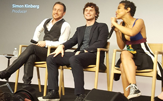 James McAvoy, Evan Peters and Alexandra Shipp (MMoore Photo)