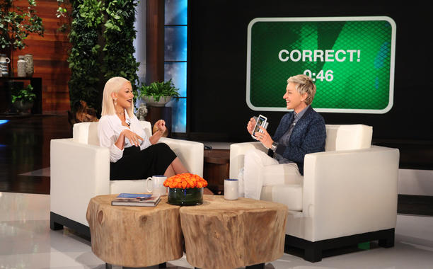 Christina Aguilera and Ellen DeGeneres (Michael Rozman/Warner Bros.)