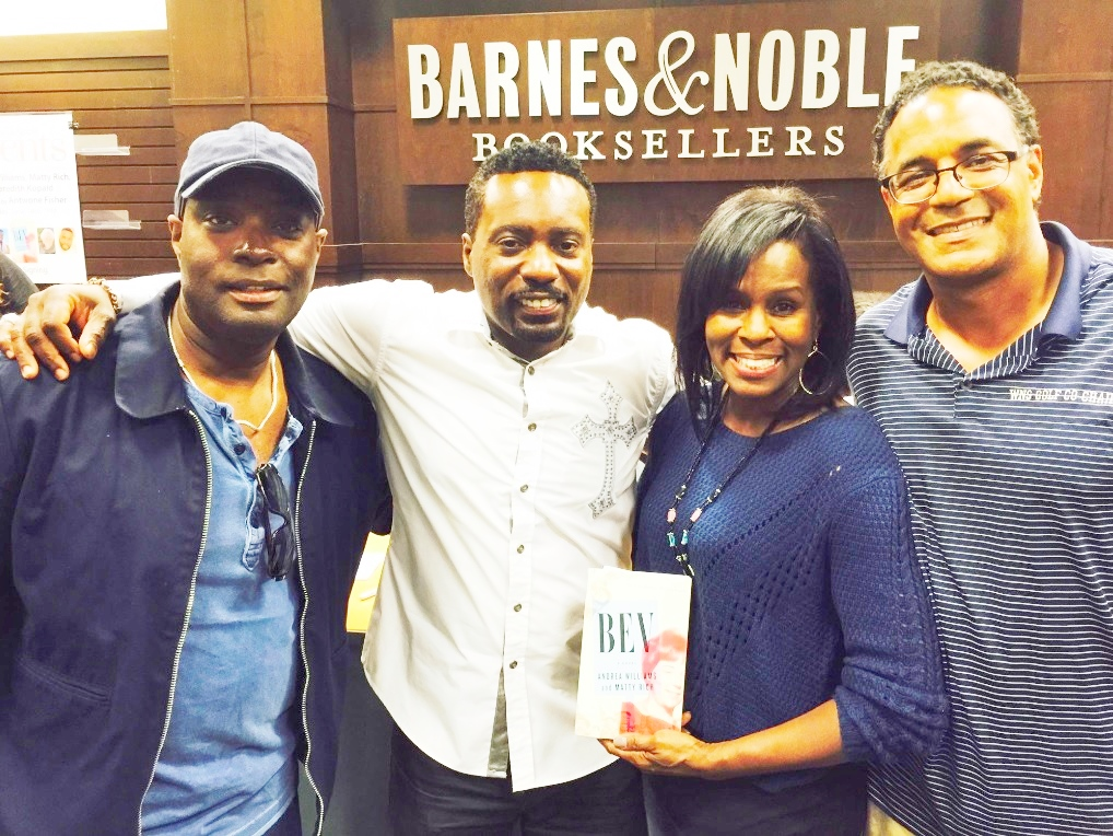 L to R: Filmmaker Antwone Fisher congratulates Matty Rich (co-author of Bev) EURweb's LaRitaShelby and producer Eddie White (Silent Bomb) also on hand. June 2016 Los Angeles