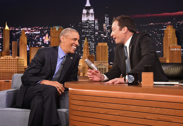 "President Barack Obama speaks with Jimmy Fallon on the set of the ""The Tonight Show Starring Jimmy Fallon"" on June 8, 2016 in New York City. President Obama is the first sitting president to appear on the show."