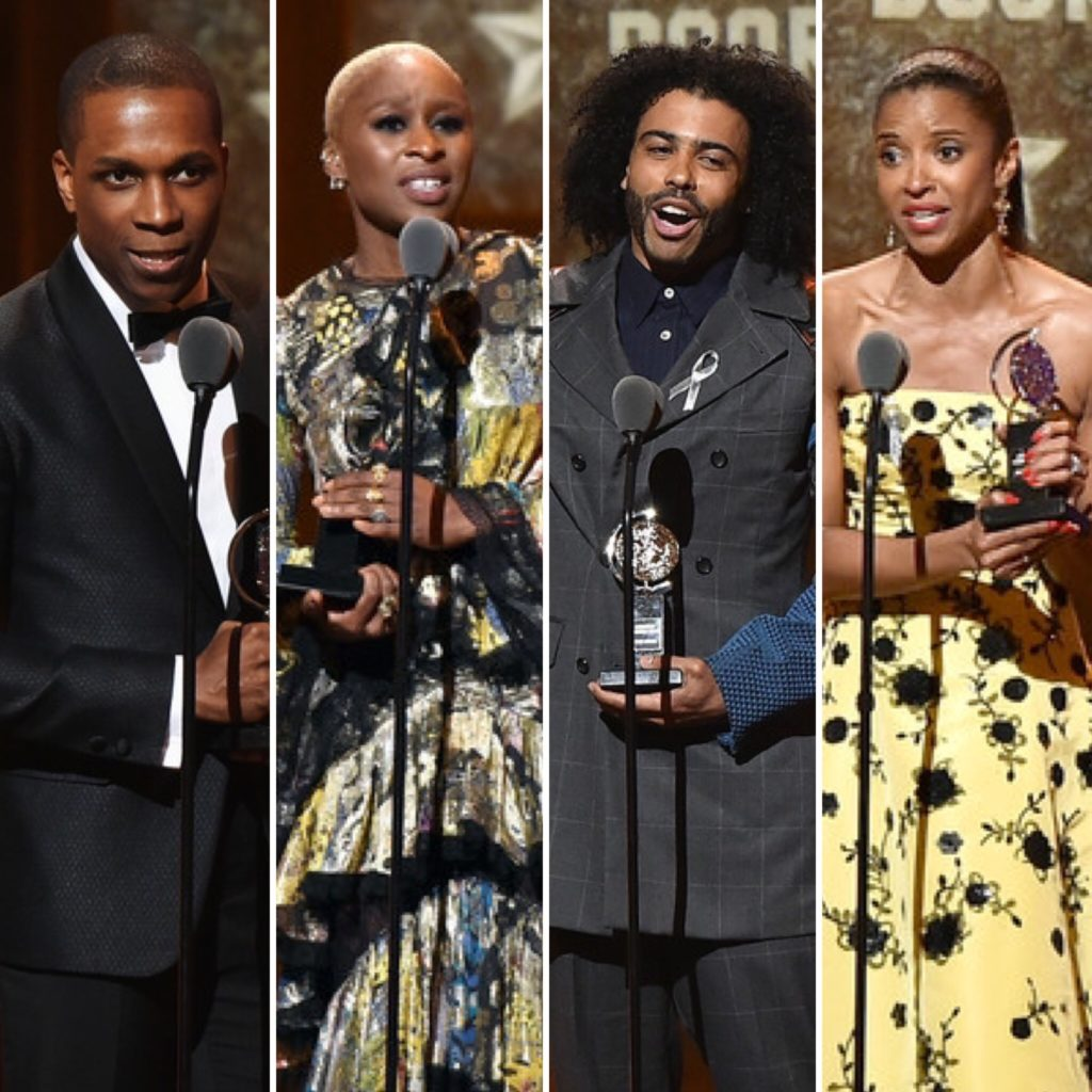 Leslie Odom Jr., Cynthia Erivo, Daveed Diggs and Renée Elise Goldsberry accept musical acting awards at the 70th Annual Tony Awards at The Beacon Theatre on June 12, 2016 in New York City.