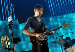 Ed O'Brien of Radiohead performs live on stage at 02 Arena on October 8, 2012 in London, England.