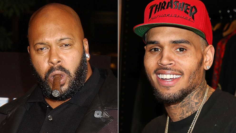Suge Knight (L) and Chris Brown
