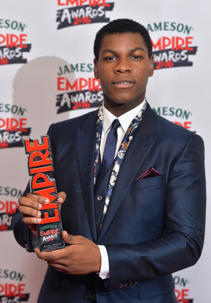 John Boyega with the award for Best Male Newcome in the winners room at the Jameson Empire Awards 2016 at The Grosvenor House Hotel on March 20, 2016 in London, England.