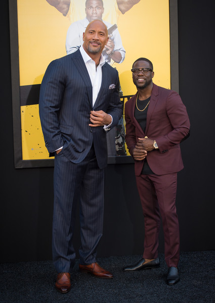 """Dwayne Johnson and Kevin Hart attend the premiere of Warner Bros. Pictures' """"Central Intelligence"""" at Westwood Village Theatre on June 10, 2016 in Westwood, California. (June 9, 2016 - Source: Jason Kempin/Getty Images North America)"""