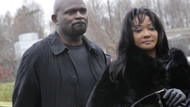Former New York Giants football star Lawrence Taylor arrives with his wife, Lynette Taylor, at the Rockland County Courthouse for his formal sentencing in New City, N.Y., Tuesday, March 22, 2011.