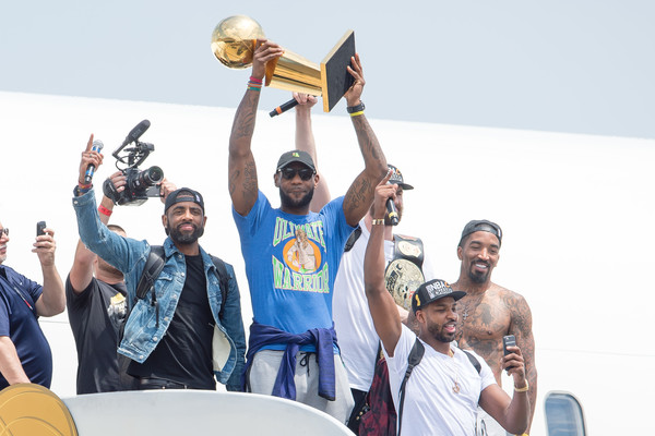 Kyrie Irving #2, LeBron James #23, Tristan Thompson #13, Kevin Love #0 and J.R. Smith #5 of the Cleveland Cavaliers return to Cleveland after wining the NBA Championships on June 20, 2016 in Cleveland, Ohio.