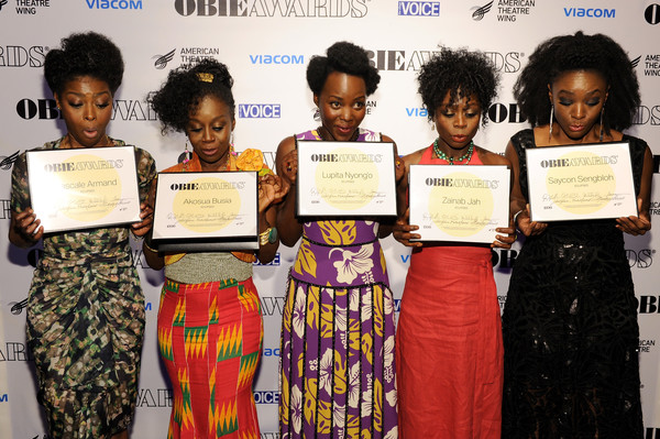Pascale Armand, Akosua Busia, Lupita Nyong'o, Zainab Jah, and Saycon Sengbloh attend the 61st Annual Obie Awards at Webster Hall on May 23, 2016 in New York City. (May 22, 2016 - Source: Craig Barritt/Getty Images North America)