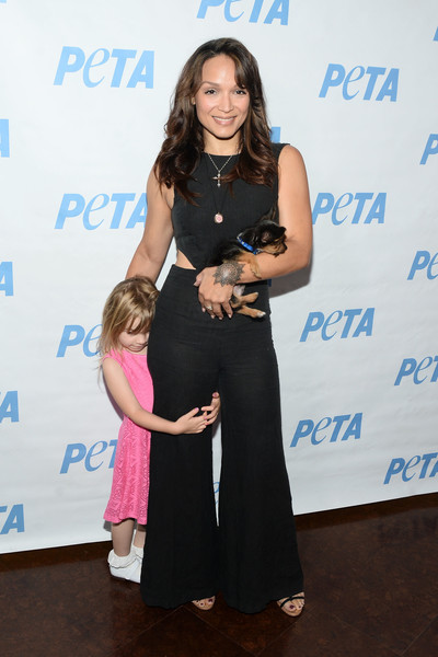 Mayte Garcia and daughter Gia attend the LA launch party for Prince's PETA Song at PETA on June 7, 2016 in Los Angeles, California.