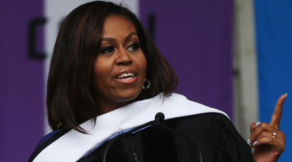 First lady Michelle Obama delivers the commencement speech after being presented with an honorary doctorate of humane letters at City College on June 3, 2016 in New York City. This is the final commencement speech of her tenure as first lady. In her speech Mrs. Obama celebrated City College's diverse student body and the struggles that many students endured on the road to graduation.