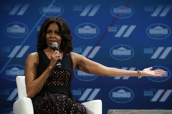 "U.S. first lady Michelle Obama participates in a conversation on ""Trailblazing the Path for the Next Generation of Women"" during the White House Summit on the United State Of Women June 14, 2016 in Washington, DC."