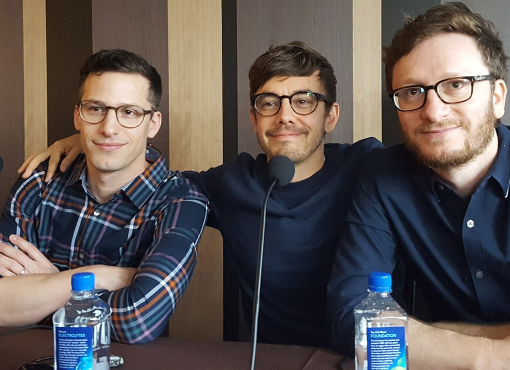 (L-R) Andy Samberg, Jorma Taccone, and Akiva Schaffer at the Mandarin Oriental Hotel in NYC. (MMoore Photo)
