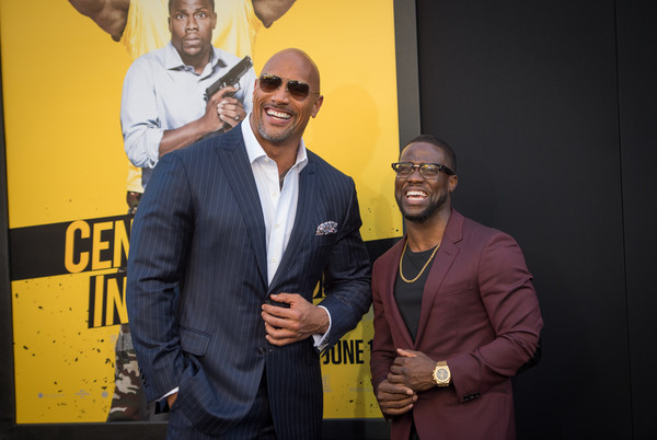 """Dwayne Johnson and Kevin Hart attend the premiere of Warner Bros. Pictures' """"Central Intelligence"""" at Westwood Village Theatre on June 10, 2016 in Westwood, California. (Source: Jason Kempin/Getty Images North America)"""
