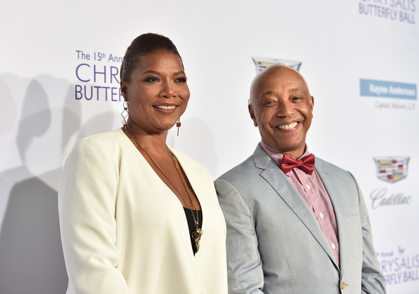 Honoree Queen Latifah (L) and producer Russell Simmons attend the 15th Annual Chrysalis Butterfly Ball at a Private Residence on June 11, 2016 in Brentwood, California.