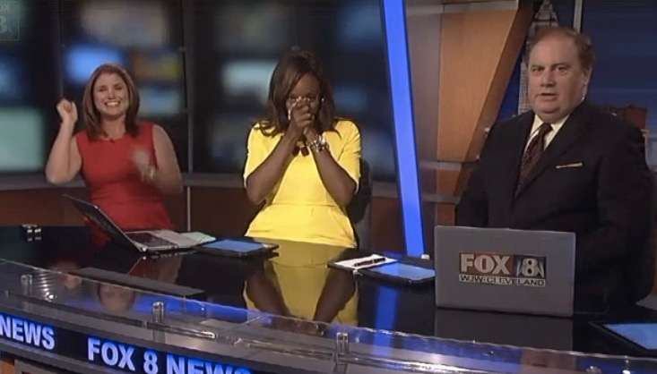 Anchors at WJZ affiliate in Cleveland react to Cavs win during newscast