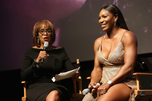 Gayle King (L) and Tennis Player Serena Williams speak onstage during the EPIX New York Premiere of 'Serena' on June 13, 2016 in New York City.