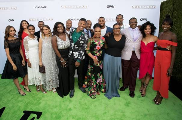 "L-R - Desiree Ross, Merle Dandridge, Kim Hawthorne, Zachary S. Williams, Kristin Erickson, Debra Joy Winans, Deji LaRay, Benjamin Patterson, GregAlan Williams, Lynn Whitfield, Tye White, Oprah Winfrey, Keith David, Terri Abney, and Anna Diop at OWN: Oprah Winfrey Network Los Angeles Premiere of ""Greenleaf"" (Photo Credit: Getty Images Mark Davis)"