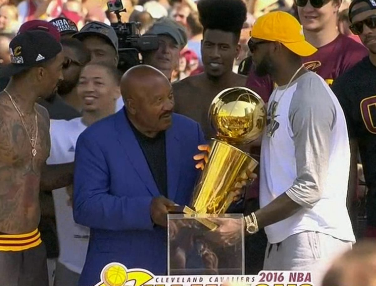 Jim Brown and LeBron James celebrate in downtown Cleveland during the Cleveland Cavaliers 2016 championship victory parade and rally on June 22, 2016 in Cleveland, Ohio.
