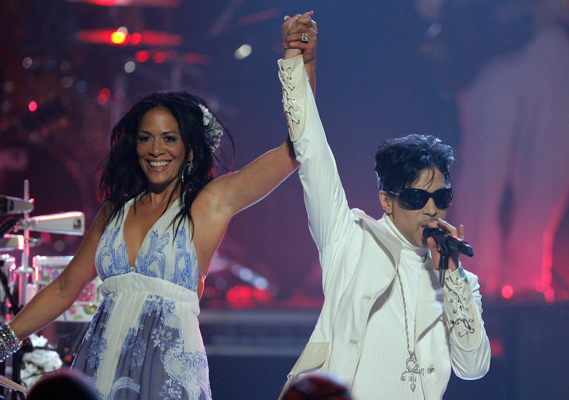 PASADENA, CA - JUNE 01: Musicians Sheila E. (L) and Prince perform onstage during the 2007 NCLR ALMA Awards held at the Pasadena Civic Auditorium on June 1, 2007 in Pasadena, California. (Photo by Vince Bucci/Getty Images)