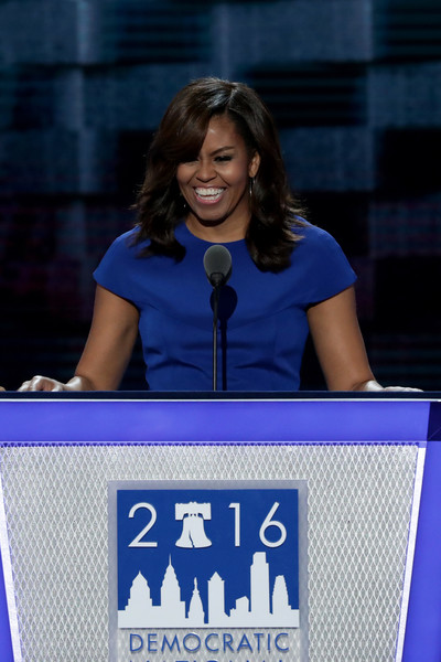 First lady Michelle Obama delivers remarks on the first day of the Democratic National Convention at the Wells Fargo Center, July 25, 2016 in Philadelphia, Pennsylvania.