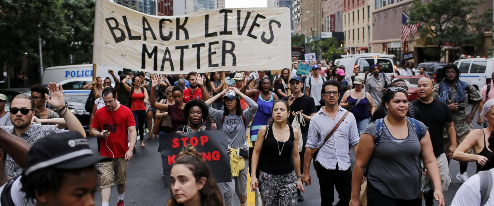 PHOTO: People take part in a protest for the killing of Alton Sterling and Philando