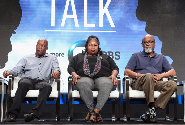 (L-R) Filmmaker John Singleton, Samaria Rice and director/supervising producer Sam Pollard speak onstage during 'The Talk (w.t)' panel discussion at the PBS portion of the 2016 Television Critics Association Summer Tour at The Beverly Hilton Hotel on July 28, 2016 in Beverly Hills, California.