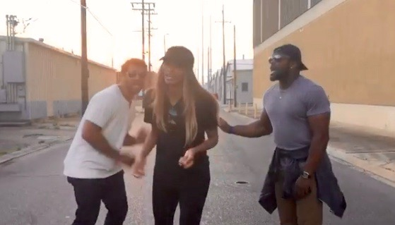 Russell Wilson, Ciara and Robert Turbin in New Orleans