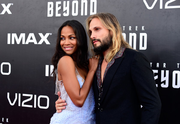 "Zoe Saldana with husband Marco Perego attend the world premiere of the Paramount Pictures title ""Star Trek Beyond"" at Embarcadero Marina Park South on July 20, 2016 in San Diego, California."