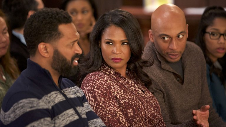 "(L-R) Mike Epps, Nia Long and James Lesure in ""Uncle Buck"" (ABC)"
