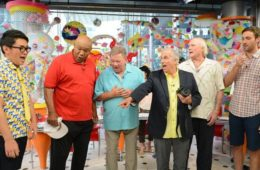 "George Foreman, William Shatner, Henry Winkler, Terry Bradshaw & Jeff Dye in ""Better Late Than Never"""