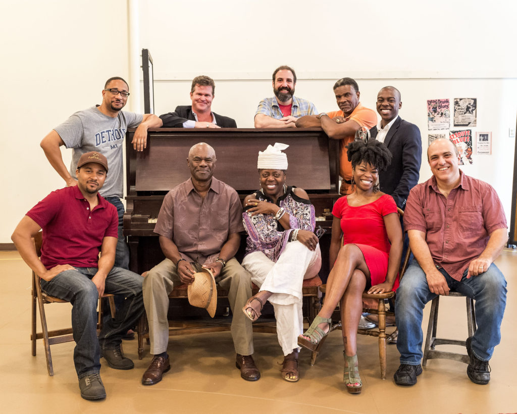"The cast for August Wilson's ""Ma Rainey's Black Bottom,"" L-R: front, Jason Dirden, Glynn Turman, Lillias White, Nija Okoro, Matthew Henerson; rear, Damon Gupton, Greg Bryan, Ed Swidey, Keith David and Lamar Richardson on the first day of rehearsal at Center Theatre Group/Mark Taper Forum. Directed by Phylicia Rashad, the production plays September 1 – October 16, 2016. For tickets and information, please visit CenterTheatreGroup.org or call (213) 628-2772. Contact: CTG Publicity/ (213) 972-7376/CTGMedia@ctgla.org. Photo by Craig Schwartz."
