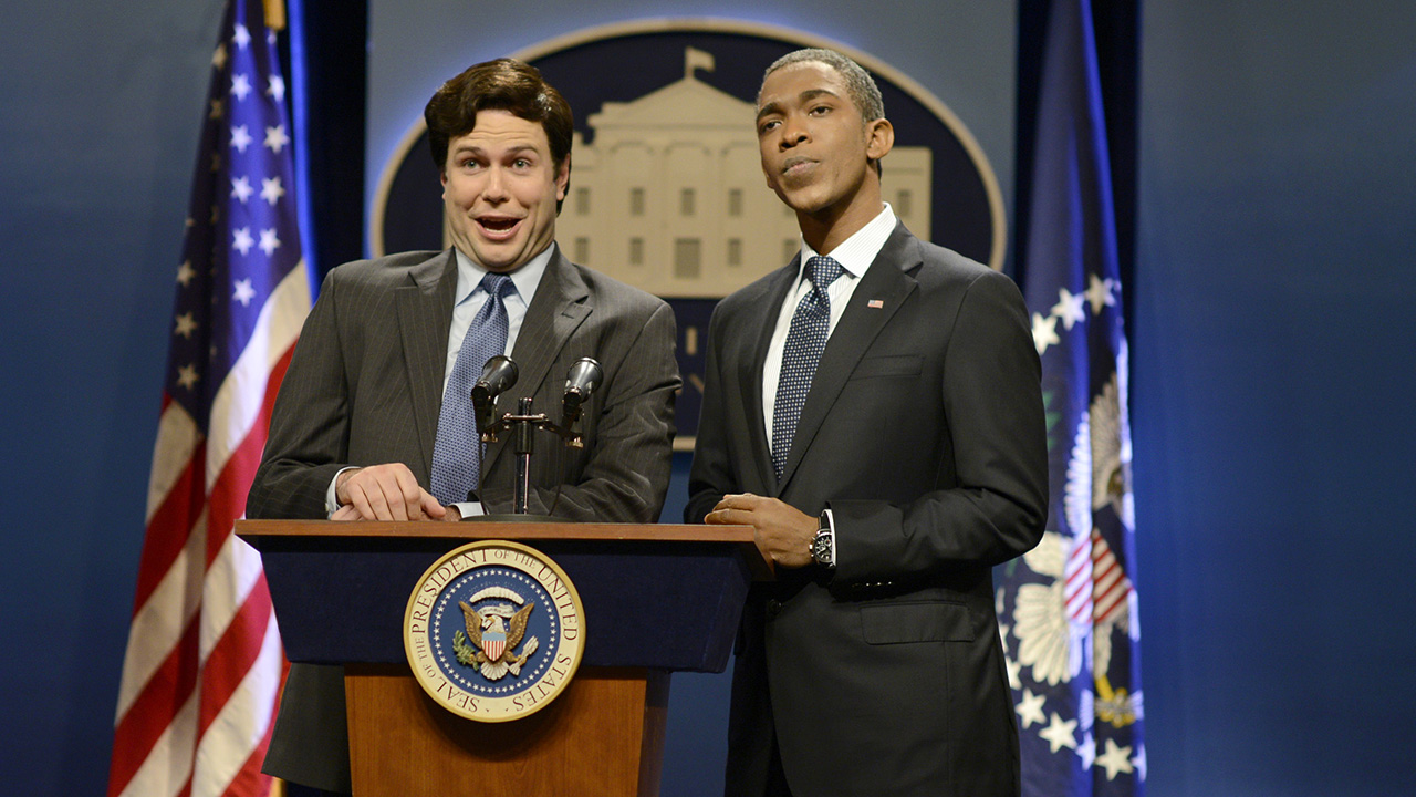 """SATURDAY NIGHT LIVE -- """"Jim Carrey"""" Episode 1666 -- Pictured: (l-r) Taran Killam as Ron Klain and Jay Pharoah as President Obama during the """"Ebola Czar"""" skit on October 25, 2014 -- (Photo by: Dana Edelson/NBC/NBCU Photo Bank via Getty Images)"""