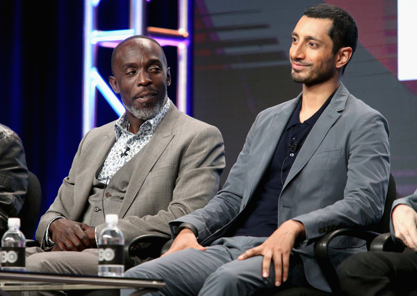 Michael Kenneth Williams and Riz Ahmed speak onstage during the 'The Night Of' panel discussion at the HBO portion of the 2016 Television Critics Association Summer Tour at The Beverly Hilton Hotel on July 30, 2016 in Beverly Hills, California.